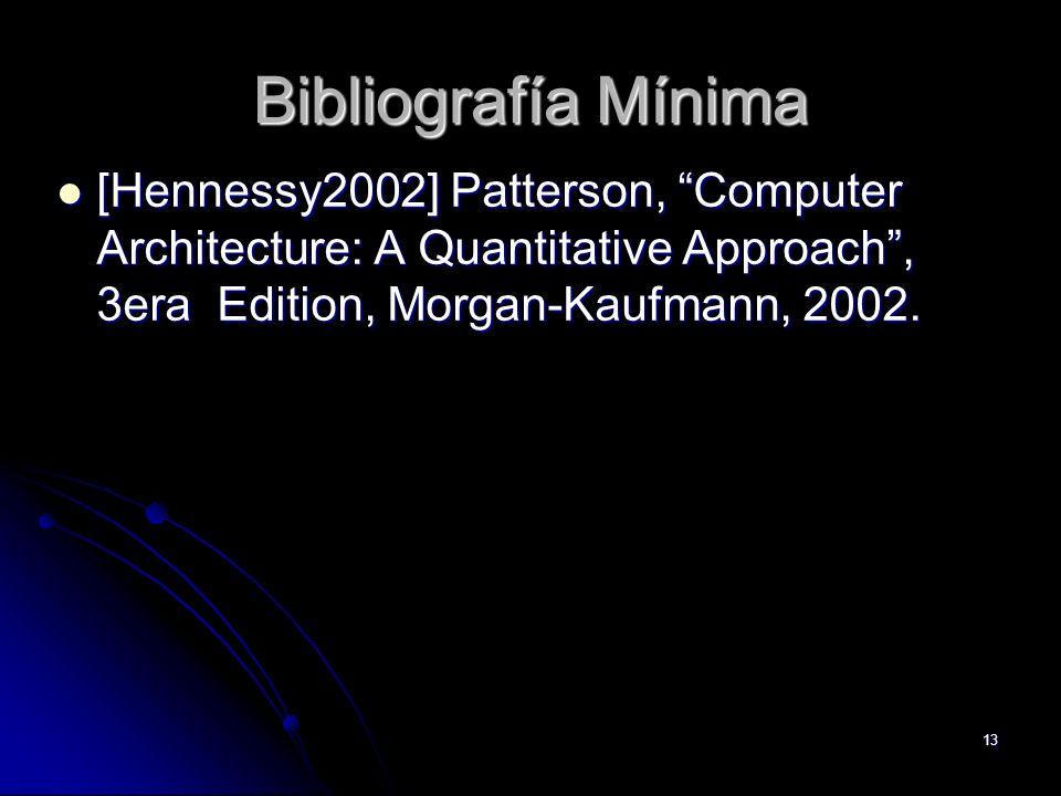 Bibliografía Mínima [Hennessy2002] Patterson, Computer Architecture: A Quantitative Approach , 3era Edition, Morgan-Kaufmann, 2002.